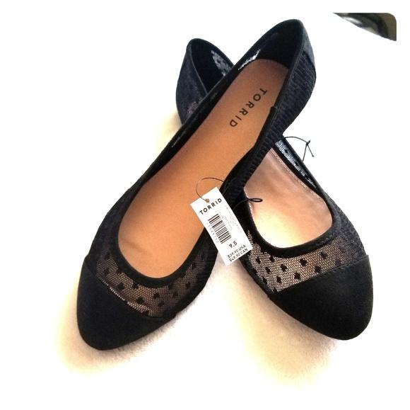 73625be0b7b BNWT TORRID Black Size 9.5 wide lace flats